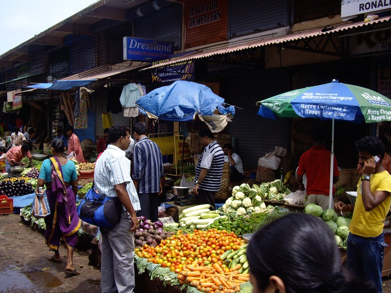 Vegetable vendor at Mapusa market